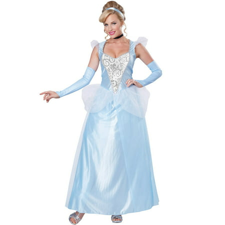 Classic Cinderella Womens Costume Disney Princess Fairy Tale Blue Gown Adult