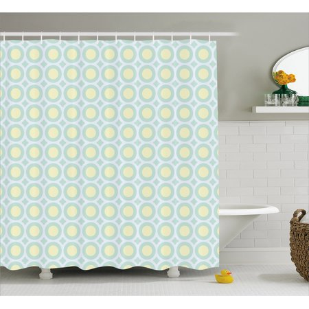 Aqua Shower Curtain Retro Circles Inner Dots 60s 70s Inspired Horizontal Artwork Fabric Bathroom Set With Hooks Yellow Pale Blue White Seafoam By