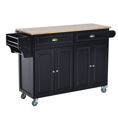 Rolling Kitchen Island Storage Cart W Drop Leaf Top