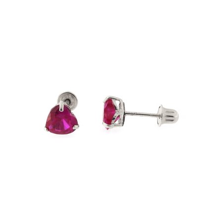 14k Yellow or White Gold Simulated Ruby Heart Stud Earrings with Child Safe Screwbacks