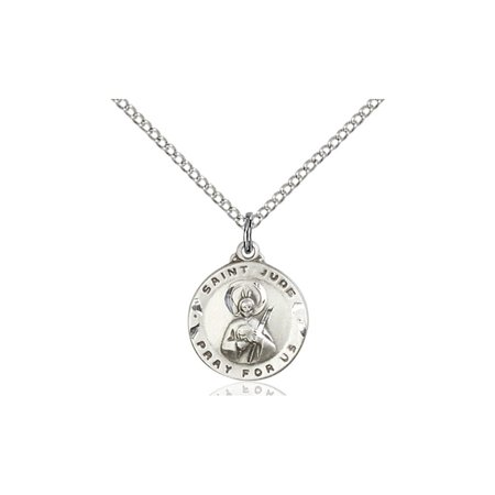 Solid 925 Sterling Silver Saint St  Jude 5 8 X 1 2   Patron Of Desperate Situations Medal Pendant On A 18 Sterling Silver Curb Chain Necklace Gift Boxed