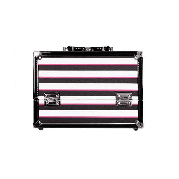 Caboodles Inspired Makeup Case, 2 Tray, Multi Color Striped