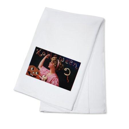 Halloween Greeting - Jack-O-Lantern by Woman Peeling Apple (100% Cotton Kitchen Towel)