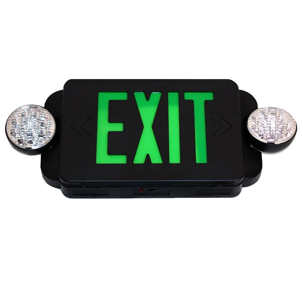 eToplighting LED BLACK Exit Sign Emergency Light Combo with Battery Back-Up Lighting UL924 ETL listed, WMLS2048