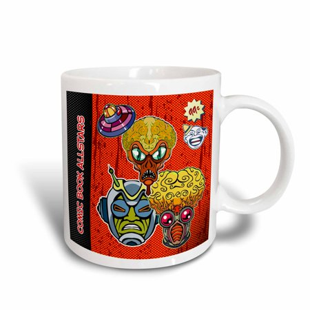 3dRose Retro Aliens and Flying Saucer Comic Book Cover Design - Ceramic Mug, - Mug Saucer