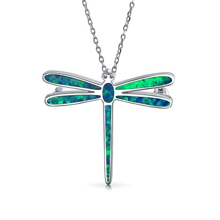 Blue Created Opal Inlay Garden Dragonfly Pendant Necklace For Women For Teen 925 Sterling Silver October Birthstone