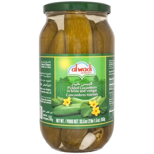 Alwadi Al Akhdar Picked Cucumbers, 33.5 oz