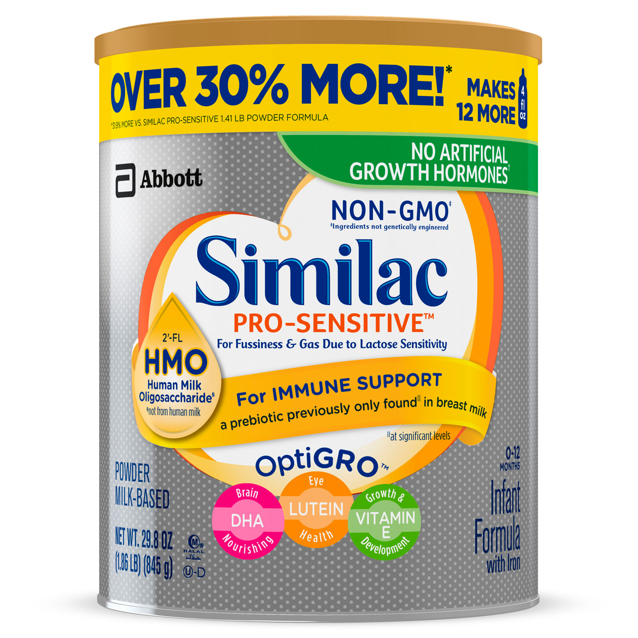 Similac Pro-Sensitive Non-GMO with 2'-FL HMO Infant Formula with Iron for Immune Support, Baby Formula 29.8 oz... by Similac
