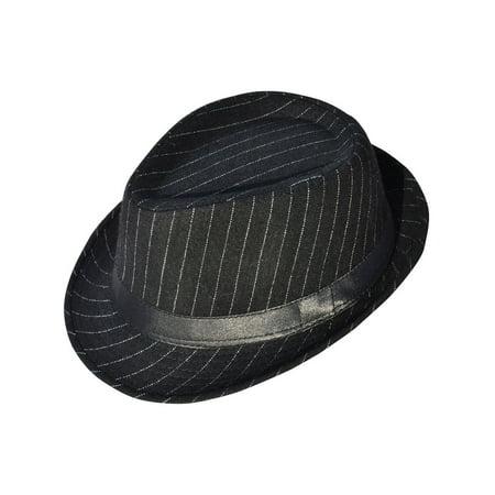 0688cfff8 Men / Women's Classic Striped Manhattan Trilby Short Brim Fedora Hat, Black