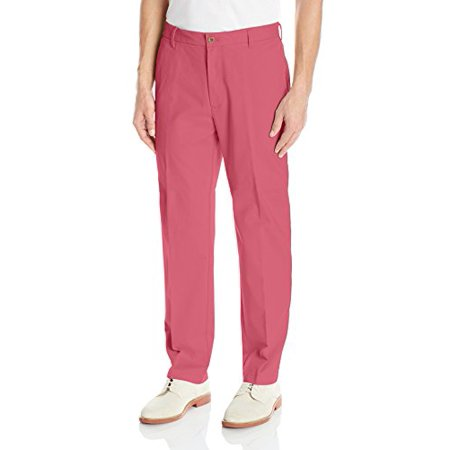 IZOD Men's Stretch Straight Fit Flat Front Chino Pant, Saltwater Red, 32W x 32L ()