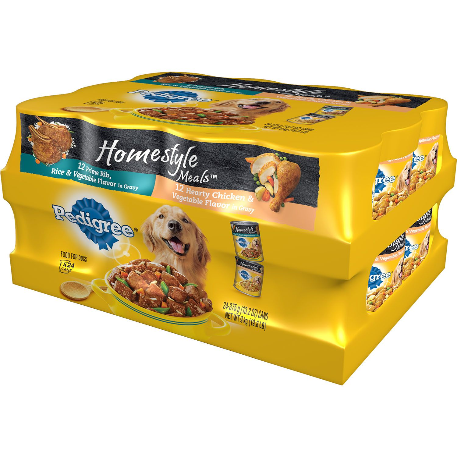 Pedigree Homestyle Meals Prime Rib, Rice, & Vegetables in Gravy and Hearty Chicken & Vegetables in Gravy Wet Dog Food, 13.2 Oz (24 Count)