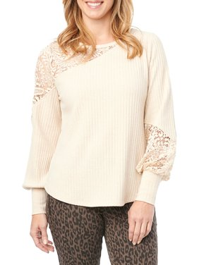 Lace-Inset Ribbed Knit Top