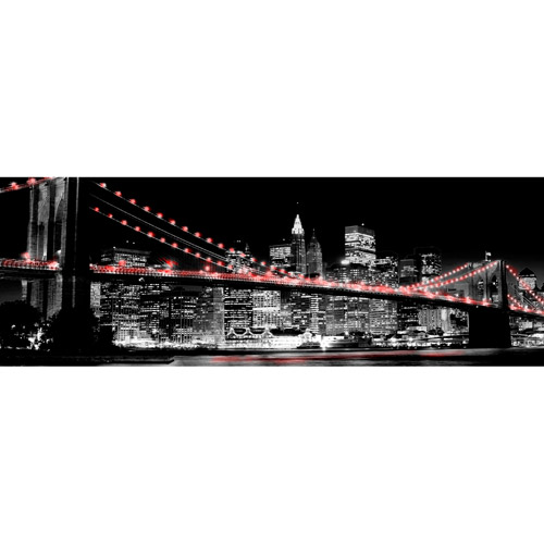 Red Brooklyn Bridge II Wall Artwork by