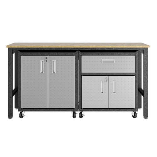 Manhattan Comfort 3-Piece Fortress Mobile Space-Saving Steel 2.0 Garage Cabinet