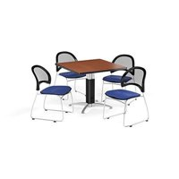 OFM PKG-BRK-176-0001 Breakroom Package Featuring 42 in. Square Mesh Base Multi-Purpose Table with Four Moon Stack Chairs