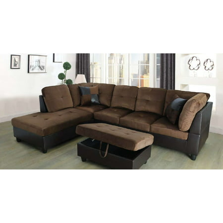 Hermann Left Chaise Sectional Sofa with Storage Ottoman, Chocolate Brown,  MicroFiber