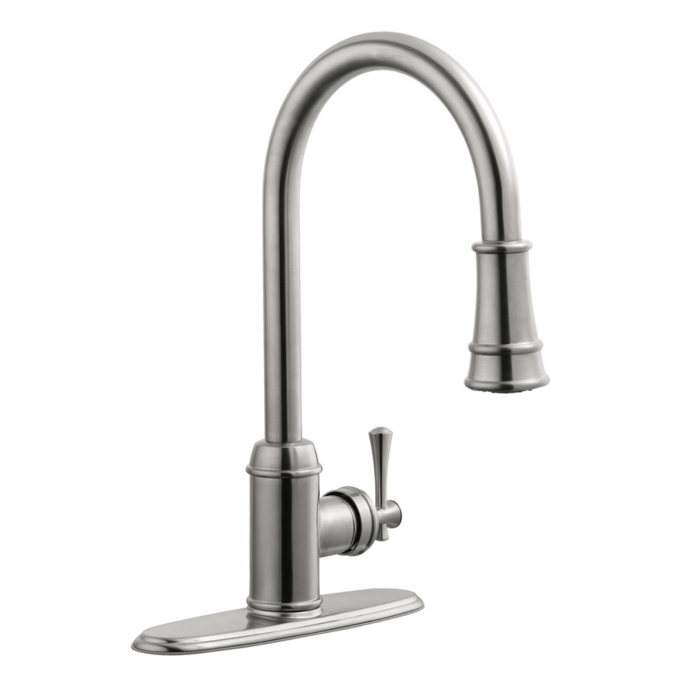Design House 524702 Ironwood Single Handle Pull Out Sprayer Kitchen Faucet,  Satin Nickel