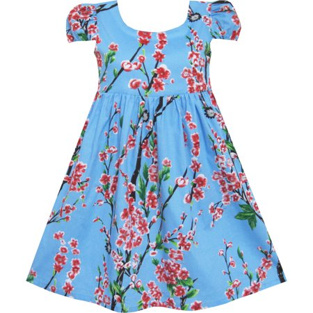 Sunny Fashion Girls Dress Chinese Plum Flower Print Princess Blue Size 3 10