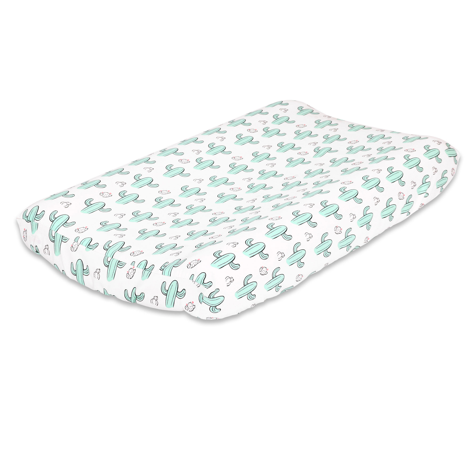 Mint Green Cactus Print Baby Changing Pad Cover by The Peanut Shell