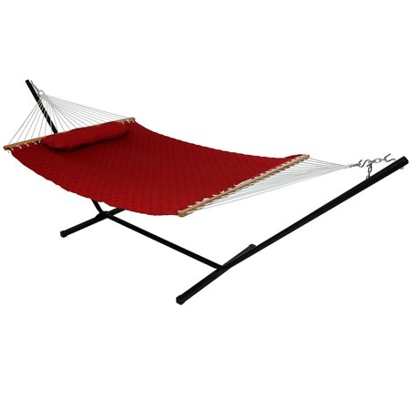Sunnydaze 2-Person Freestanding Double Hammock with 12-Foot Stand and Spreader Bars, Quilted Designs Fabric, 400-Pound Capacity, Red ()