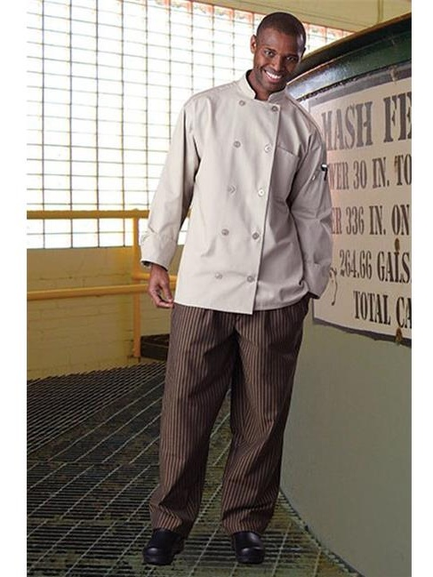 Uncommon Threads 4003-3510 Yarn Dyed Baggy Chef Pant in Black/Copper Stripe - 6XLarge