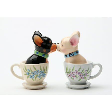Tea Cup Chihuahua Pups Magnetic Salt and Pepper Shaker Set