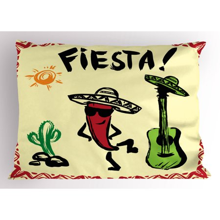 Festive Maraca - Fiesta Pillow Sham Festive Mexican Party with Maracas Dancing Red Pepper Wearing a Sombrero and Guitar, Decorative Standard Size Printed Pillowcase, 26 X 20 Inches, Multicolor, by Ambesonne