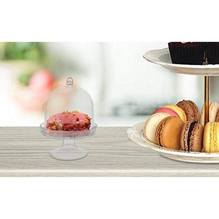 Clear Acrylic Mini Cake Stand with Dome Cover, 3-Inch, 12-Count ()