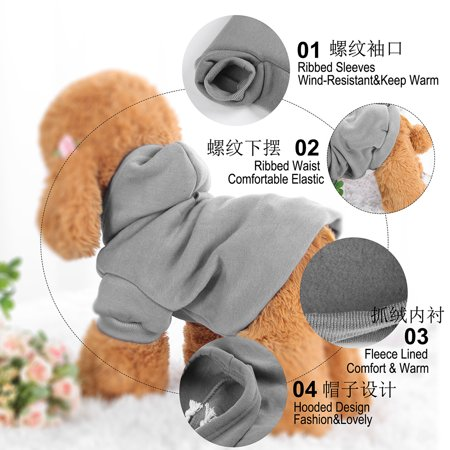 Cotton Dog Winter/Spring/Fall Sweatshirt Hoody Pet Clothes Warm Coat Grey XS - image 6 of 7