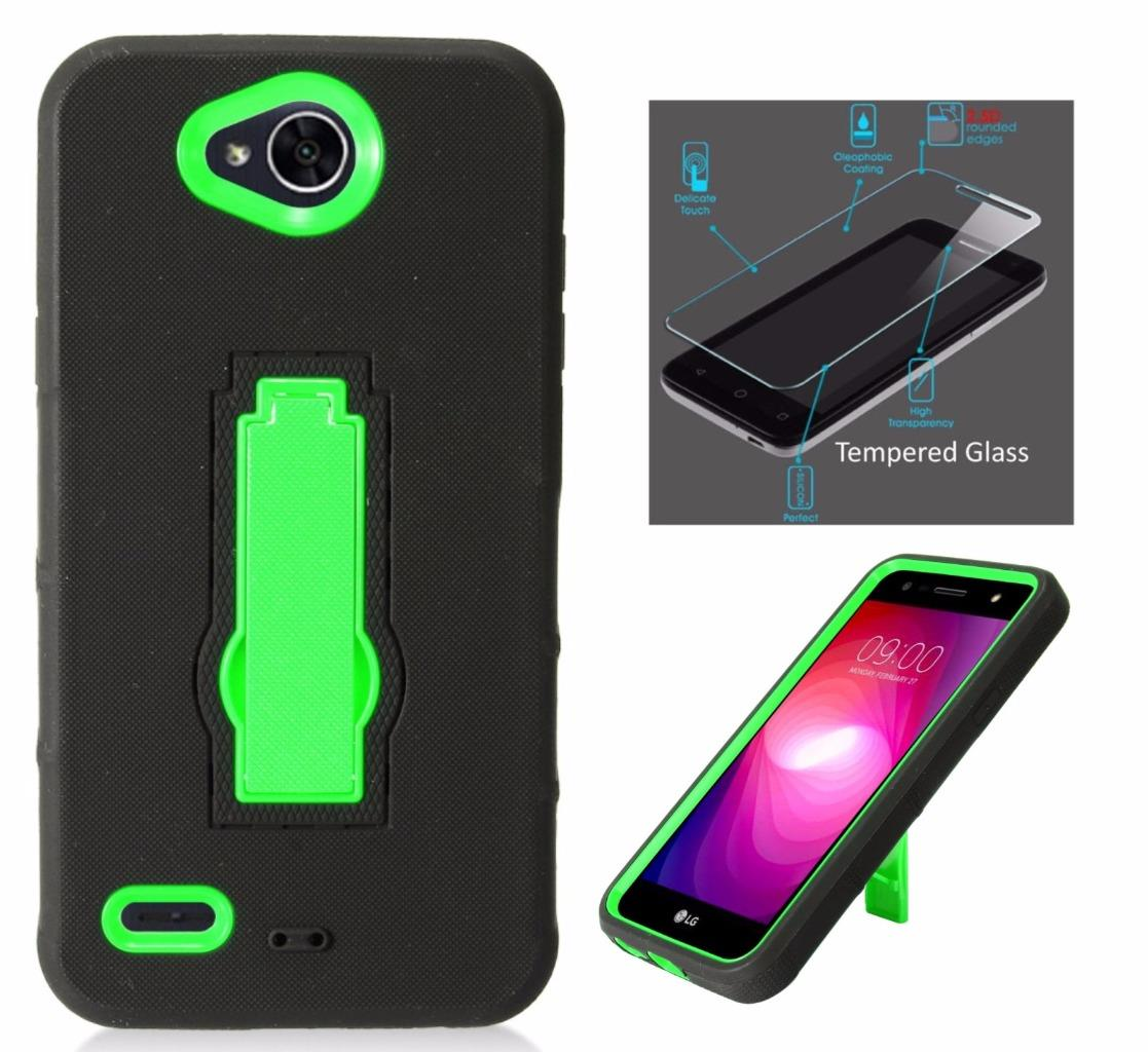 For LG X Power 2 Case (2017) / LG Fiesta LTE Case / LG K10 Power Case / LV7 + Tempered Glass Symbiosis Armor Hybrid Silicone Phone Cover Hard Plastic w/ Stand (Green/Black)