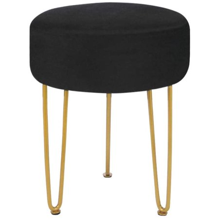 Velvet Footrest Footstool Ottoman Round Modern Upholstered Vanity Foot Stool Side Table Seat Dressing Chair with Golden Metal Leg Black Stool Cafeteria Table