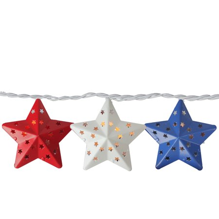 Set of 10 Red and Blue Metal 4th of July Star String Lights - 7.25 ft White Wire](Red White And Blue Lights)