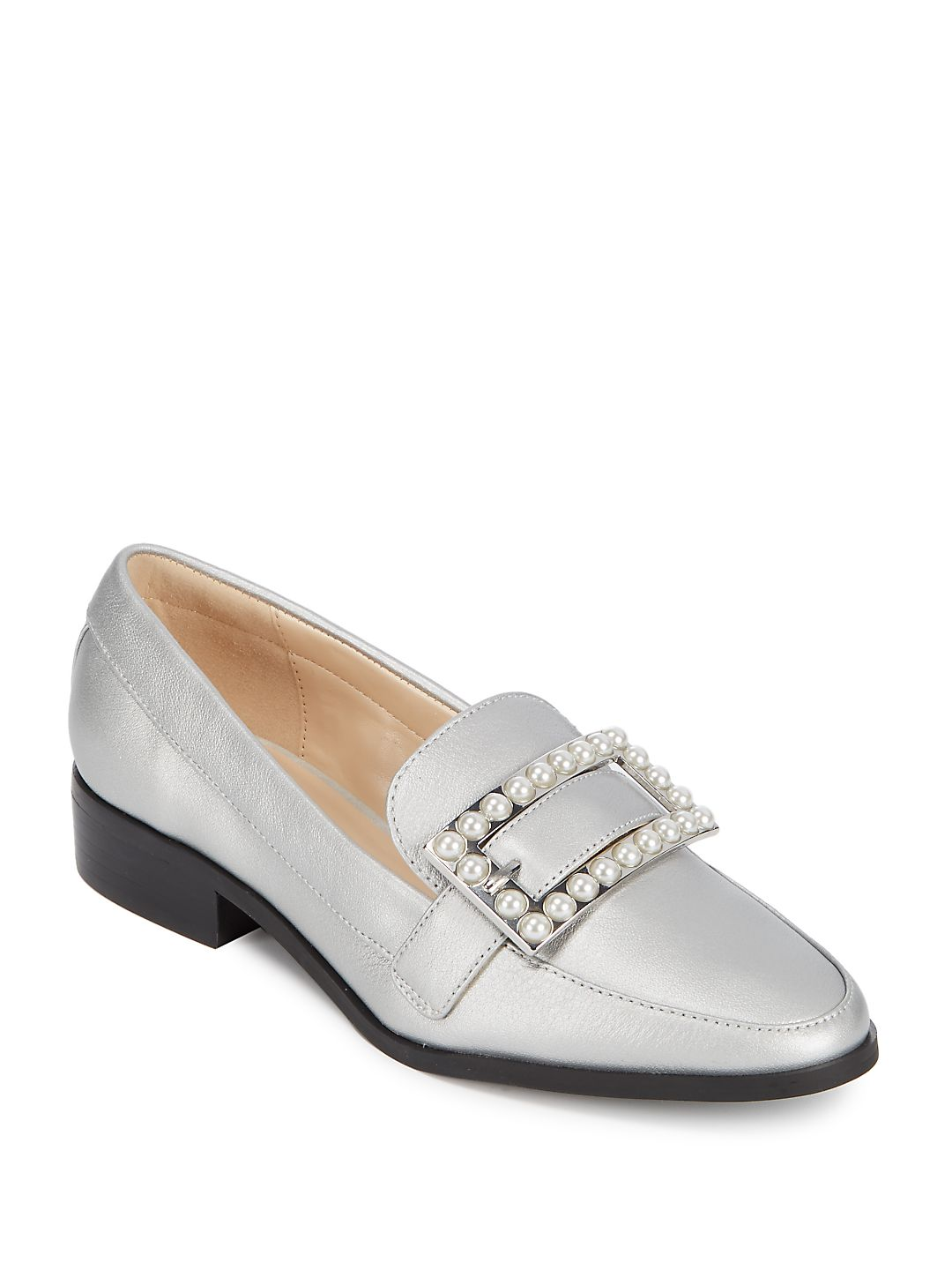 Embellished Buckle-Accented Loafers