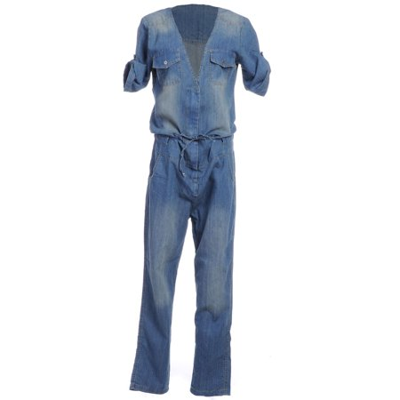 Anna-Kaci S/M Fit Blue Light Patch Wash Tab Sleeve Drawstring Waist Jumpsuit - Blue Jumpsuit