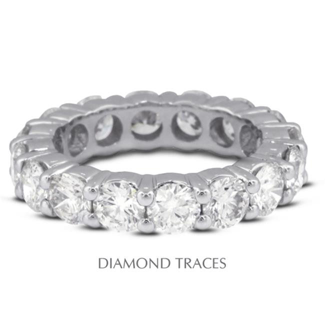 Diamond Traces UD-EWB100-9380 14K White Gold 4-Prong Setting 1.41 Carat Total Natural Diamonds Classic Eternity Ring