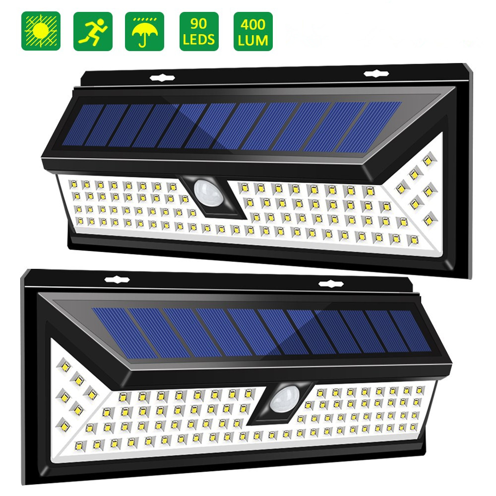AUGNBIE 90 LED Outdoor Solar Wall Lights with Motion Sensor,3 Modes,IP 65 Waterproof ,8 hours Using Time and 120° Wide Sensor Angle