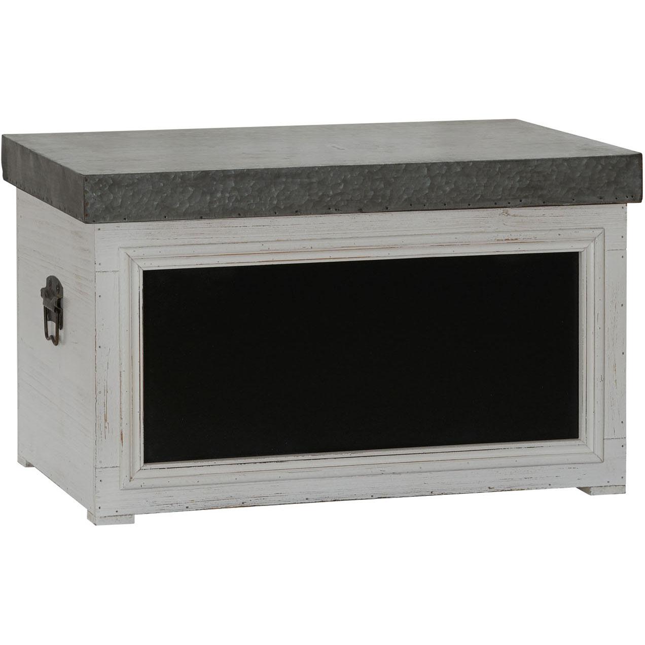Small Chalk Board Storage Trunk, White