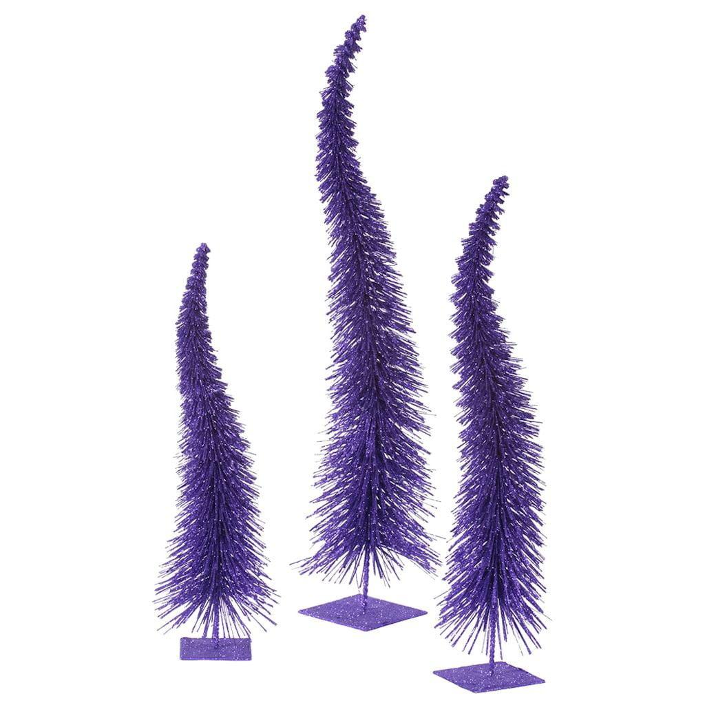 "Vickerman 33312 - 18"" 22"" 26"" Orchid Glitter Curved Tree Set Christmas Tree Set (L138109)"