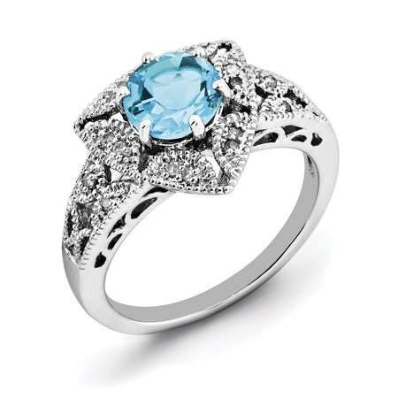 925 Sterling Silver Rhodium Light Swiss Blue Topaz and Diamond Ring - image 2 of 2