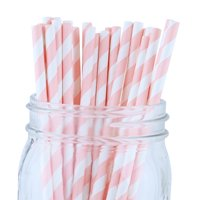 Just Artifacts 100pcs Decorative Striped Paper Straws (Striped, Light Pink)