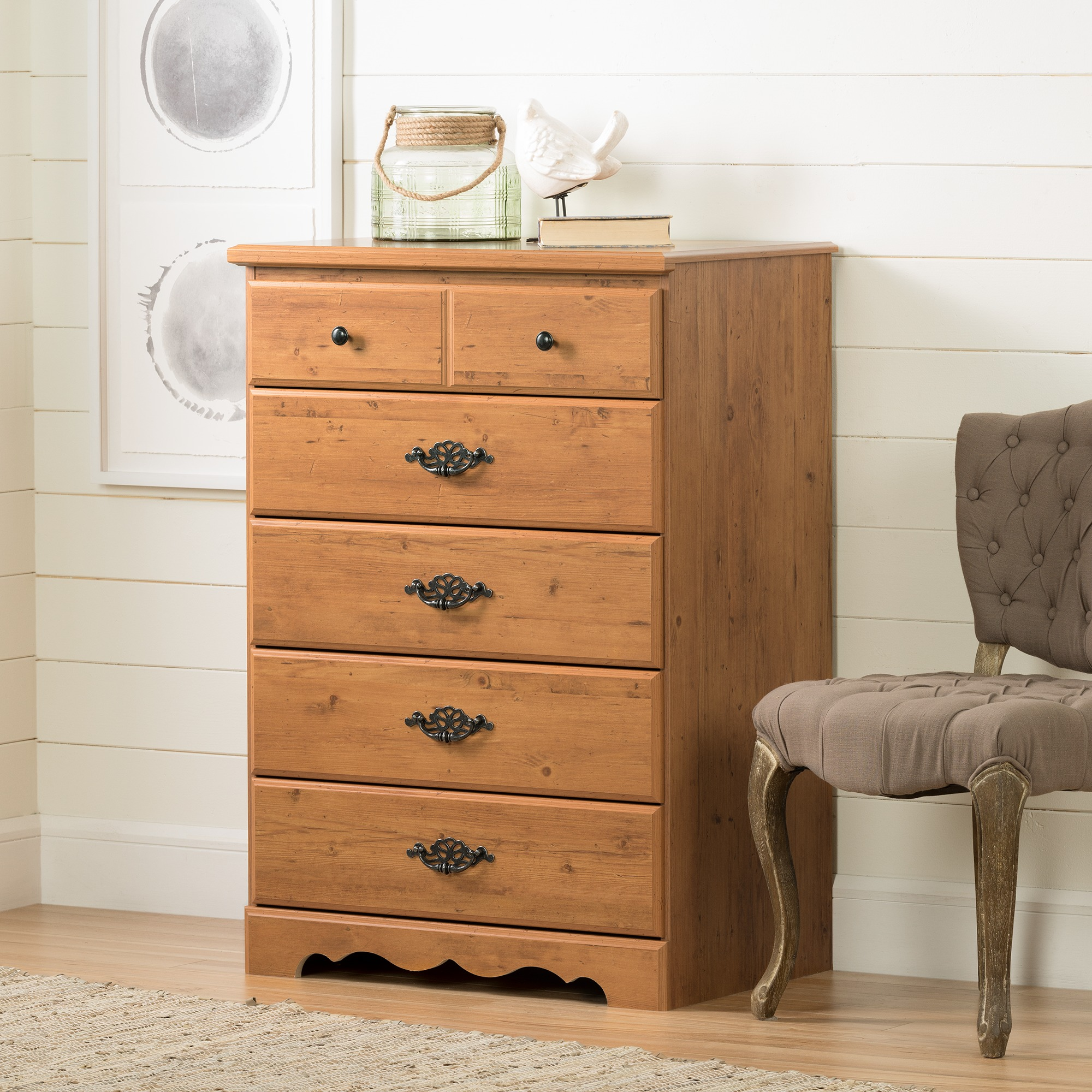 South Shore Prairie 5-Drawer Dresser, Country Pine