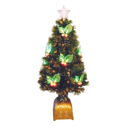 Northlight Christmas Central Dak Tn48s8rglv 4 Ft Pre Lit Led Color Changing Fiber Optic Christmas Tree With Holly Berries