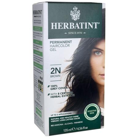 Herbatint Permanent Haircolor Gel 2N Brown 1 Box (Darkest Brown Tip)
