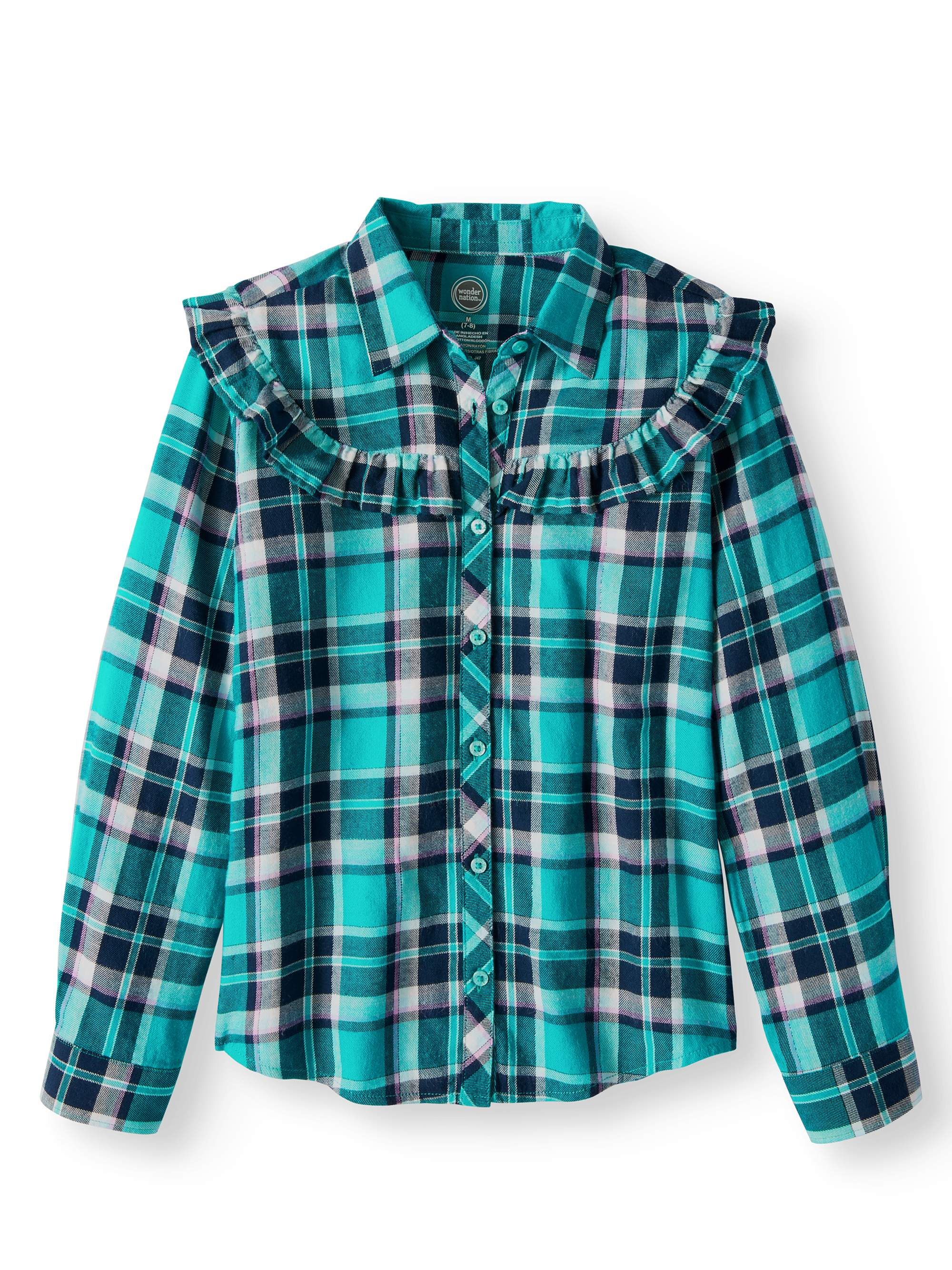 Plaid Ruffle Flannel Button Down Shirt (Little Girls & Big Girls)