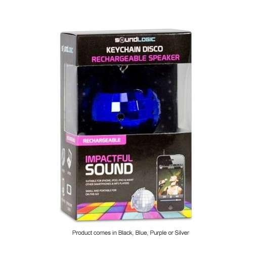 Soundlogic Rechargeable Disco Keychain Speaker - 1x 1W Speaker, 3.5mm Jack, Port