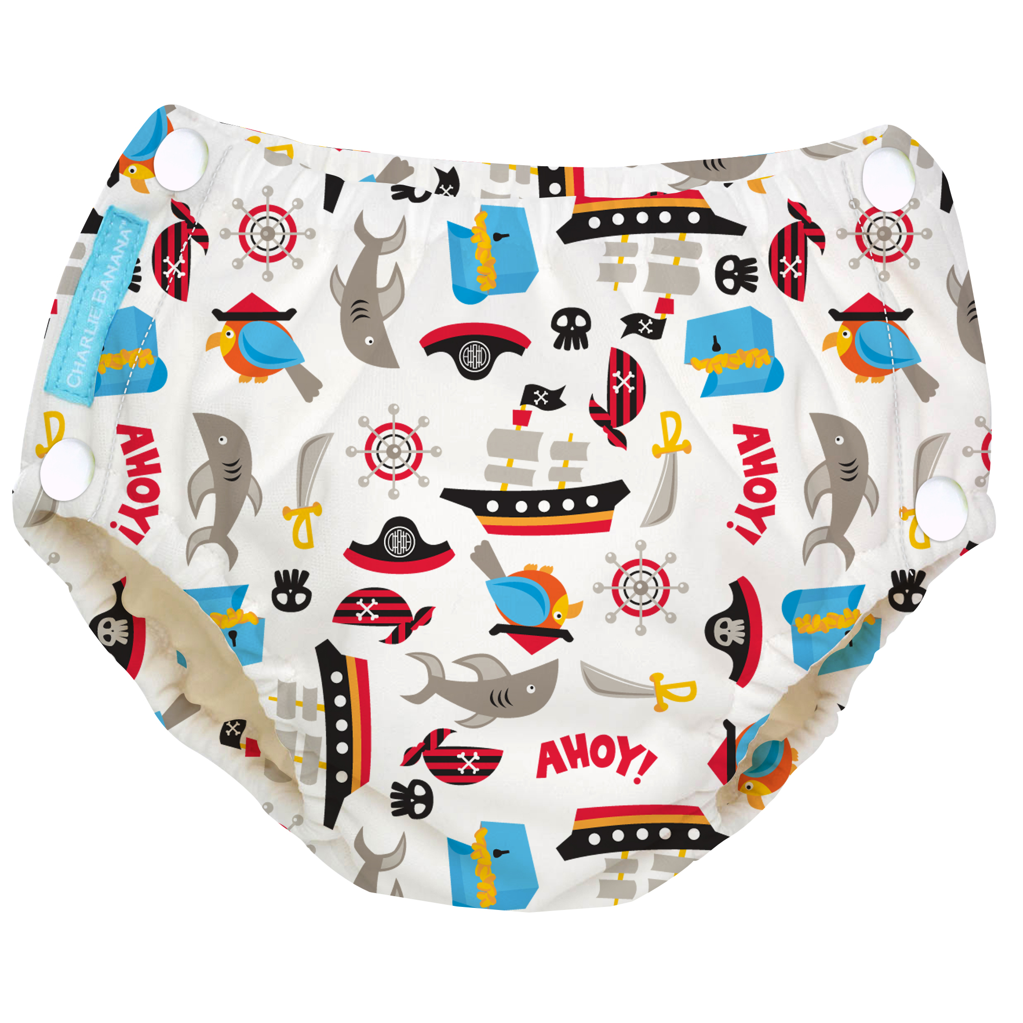 Charlie Banana Easy Snaps Reusable Swim Diaper, Pirate (Choose Size)