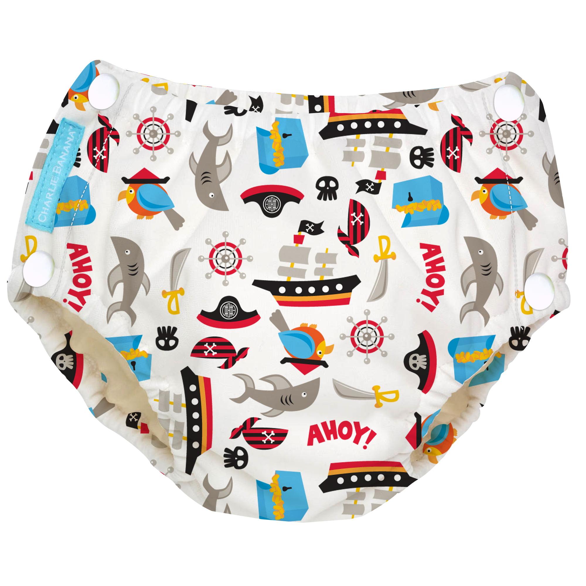Charlie Banana Easy Snaps Reusable Swim Diaper, Pirate (Choose Size)
