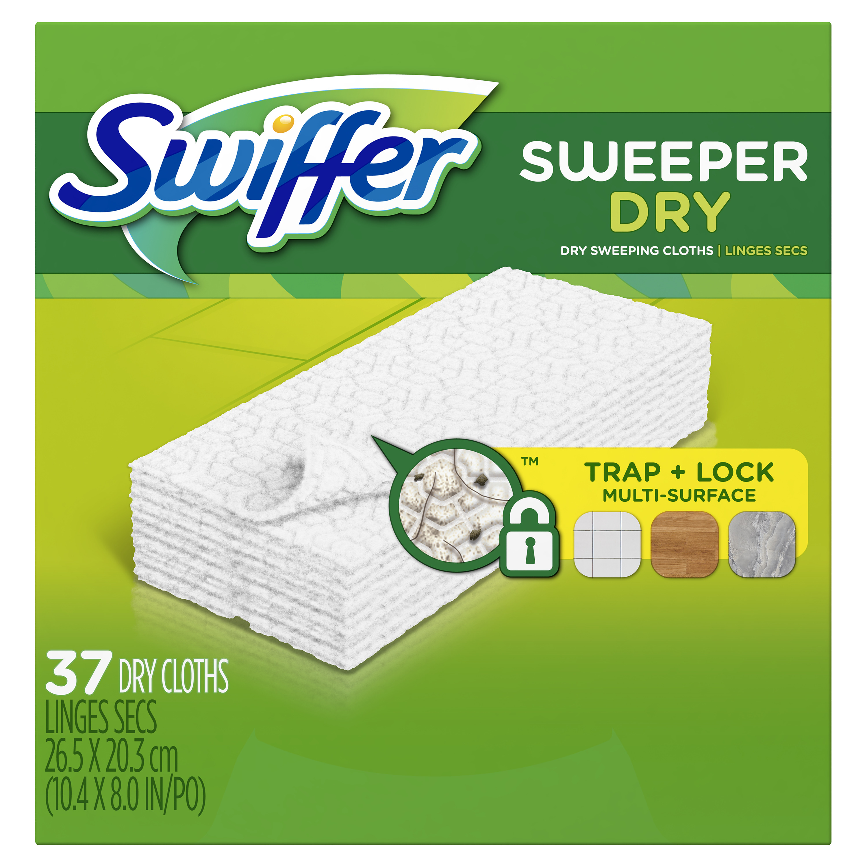 Swiffer Sweeper Dry Sweeping Pad Multi Surface Refills for Dusters Floor Mop, Unscented, 37 Count