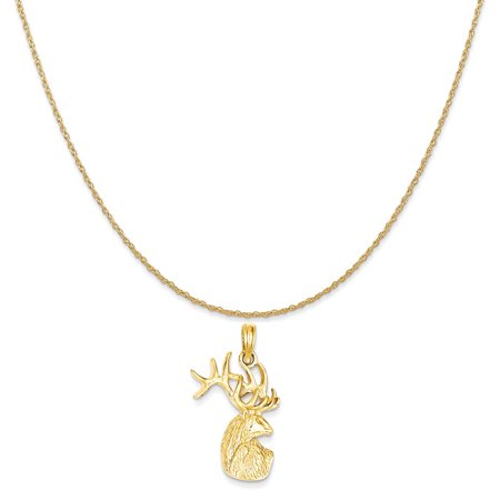14k Yellow Gold Polished Deer Head Charm on a 14K Yellow Gold Rope Chain Necklace, 20""