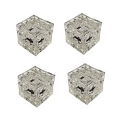 Solar Powered LED Crystal Glass Ice Brick Pathway Garden Light Red 4 Pack